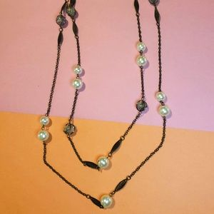Jewelry - Double-Strand Black Tone Necklace w/ Faux Pearl